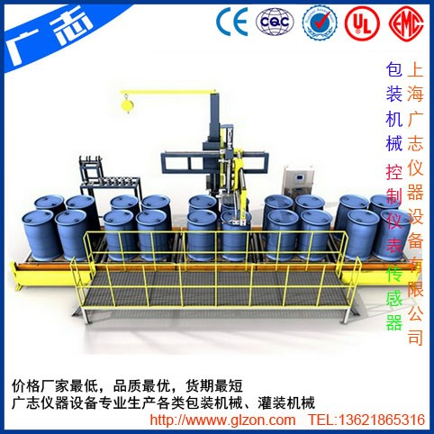 Drum on pallet filling line
