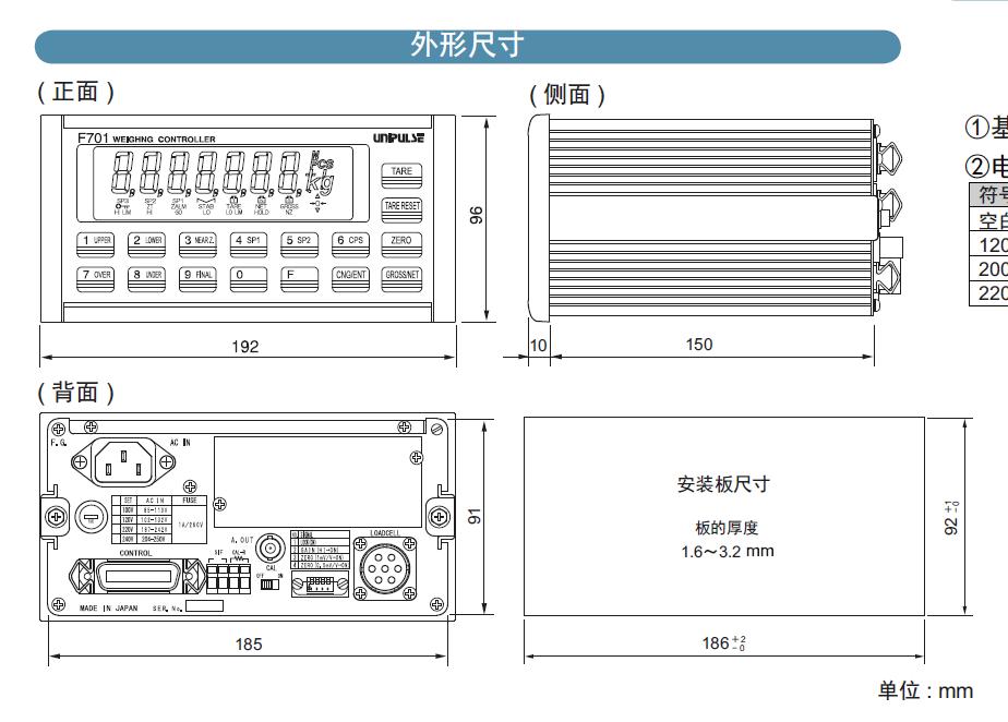进口称重仪表F701参数图
