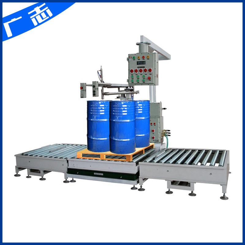 4 drums on pallet 1.5 ton filling machine with roller conveyor